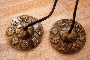 Tingsha (bronze) -Lucky symbols