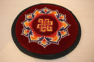 Singing bowl pad, embroidered with mandala